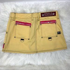 Dogpile Skirts - SALE Dogpile Yellow Pink Mini Punk Bondage Skirt M